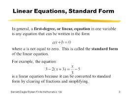 standard form of a linear equation kuta tessshlo