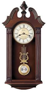 bulova traditional chiming pendulum wall clock solid wood case ridgedale c4437