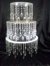 diy crystal chandelier cake stand display idea diy add acrylic chandelier drops to a cake