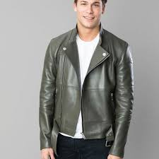 1 green khaki leather jacket with blue jeans