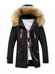 faux fur hooded zip up multi pocket padded coat black xl