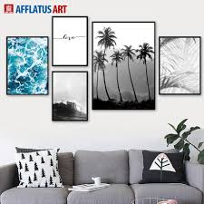 Sea Forest <b>Palm Tree</b> Landscape Love Wall Art Canvas Painting ...