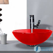 glass wash basin round opaque red