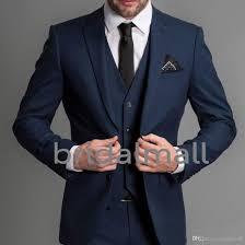 Top Suit Design Navy Blue Formal Wedding Men Suits 2019 Three Piece Notched Lapel Custom The Best Man Business Groom Wedding Tuxedos Jacket Pants Vest Formal For