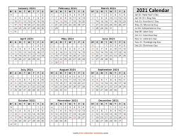 The calendars for individual months are given as separate word document. Printable Yearly Calendar 2021 Free Calendar Template Com