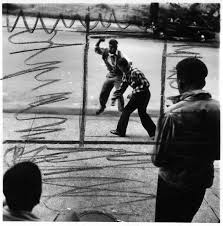 """new exhibit goes behind the scenes to re examine landmark  gordon parks american 1912 2006 """"untitled harlem new york """" 1948 gelatin silver print courtesy the gordon parks foundation the markings on the photo"""
