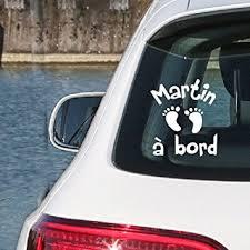sticker bébé à bord prenom personnalisÉ blanc par i sticker 20cm autocollant pour voiture vitre