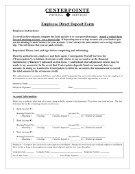 Employee Direct Deposit Form : Sample Forms