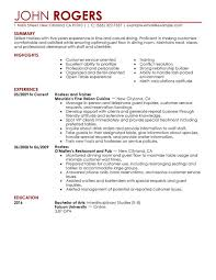 Sample Resume For Waitress Hostess