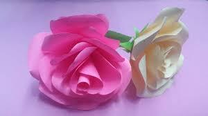 Rose Paper Flower Making How To Make Rose Flower With Color Paper Diy Paper Flowers Making