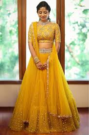 Lehenga Design In Yellow Colour Pin On Customised Haldi Outfit