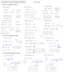 ravishing solving quadratic equations by completing the square answers factoring worksheet with work completing the square