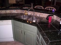 granite tiled countertop custom paint tiled backsplash