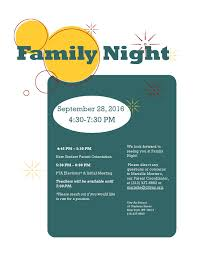 Pta Elections Flyer City As School High School Family Night September 28th