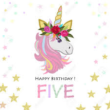 Birthday Invitation Party Fifth Birthday Five Unicorn Birthday Invitation Party Invitation