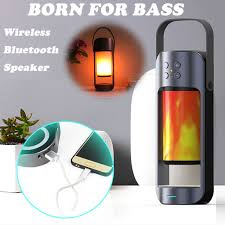 led flame lamps wireless bluetooth stereo speaker outdoor tws wireless speaker dynamic flame effect light subwoofer z528