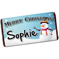 personalised merry snowman 114g galaxy milk chocolate bar xmas eve kids s boys mum