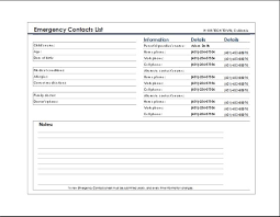 emergency contact template emergency contact list template at wordtemplatesbundle com