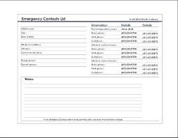 emergency contact template emergency contact list template at wordtemplatesbundle com