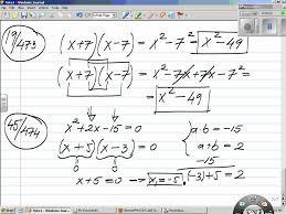 foil polynomial multiplication special s solving quadratic equations