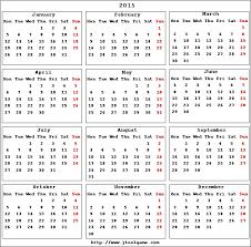 2015 Calendar Printable Calendar 2015 Calendar In Multiple Colors