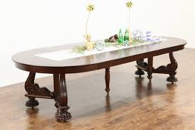 round 54 empire mahogany antique 1910 dining table 6 leaves extends 10 5