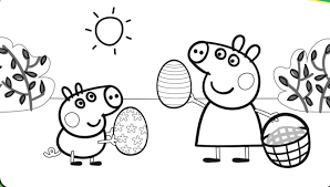Peppa Pig Coloring Pages Easter Coloringstar