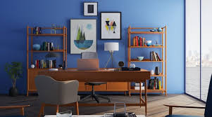 office space at home. Corner Home Office Space With Navy Blue Wall. Mark At
