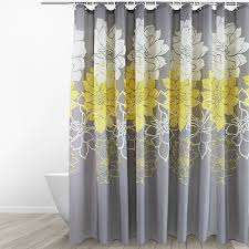 Amazon.com: Eforgift Floral Printed Fabric Shower Curtain Polyester  Waterproof/ No More Mildews Bathroom Curtains withHooks Yellow/Gray /White  (72-inch By ...