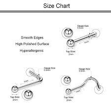 Nose Stud Gauge Size Chart D Bella Bone Nose Studs 18g 316l Stainless Steel Silver Nose Ring Studs Bone Nose Studs Screws Body Piercing