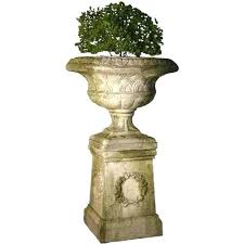the well appointed house weaved classical garden urn in white moss with optional pedestal urns planters urn planters resin garden