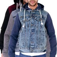 details about mens hoody hooded denim jacket jersey hood sleeves s m l xl 2xl 3xl 4xl alex