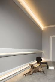 cool wall embellishment concept featuring calabasas moldings as chair rail above the baseboard and as cornice for indirect lighting highlighting belvedere