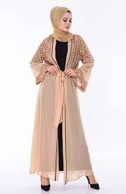 Sequined Belted Abaya 52750-04 Beige Gold 52750-04 | Sefamerve