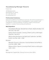 Executive Housekeeper Resume Housekeeping Resume Samples Housekeeper