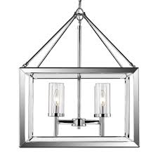 golden lighting smyth 4 light chrome chandelier with clear glass shade 2074 4 ch clr the home depot