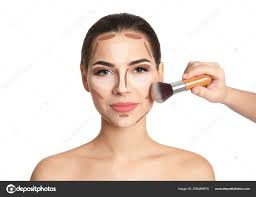 makeup artist contouring woman face white background professional tutorial stock photo