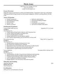 Resume Sample Caregiver