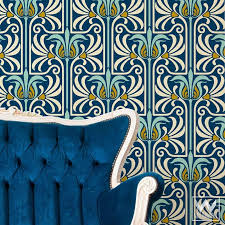 art deco and art nouveau wall murals retro feather damask peel and stick adhesive removable on art nouveau art deco wallpaper designs with removable wallpaper wallternatives