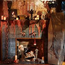 Rustic Halloween Mantle Decorations Introducing Blue Tiled Fireplace With  Classic Candle Holder And Spooky Halloween Ornament Details Ideas.
