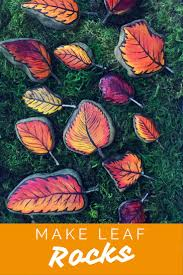 Learn to make Fall Leaf Rocks! Turn a regular rock into a painted leaf