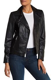 Women's Leather & Faux Leather Coats & Jackets | Nordstrom Rack & MICHAEL Michael Kors - Asymmetric Zip Moto Leather Jacket Adamdwight.com