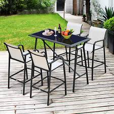 garden table and chair sets india. 5pc outdoor patio dining table bar set stools chair garden furniture steel glass and sets india