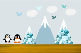 mountain wall decals penguin decals nursery wall decor snow capped mountain cloud on penguin wall art for nursery with popitaywalls mountain wall decals penguin decals nursery wall