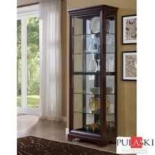 pulaski display cabinet with led light adjule glass shelves and sliding door