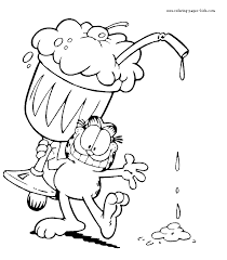 Garfield Color Page Cartoon Characters Coloring Pages Color Plate