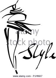 Fashion Girl Sketch Stylized Silhouettes Isolated Vector Fashion