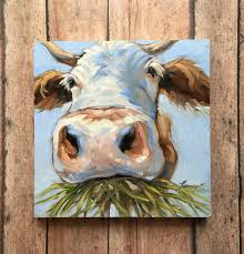 cow painting 6x6 inch original impressionistic oil painting of a sweet cow paintings of