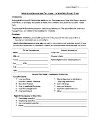 Medication Error Incident Report Form Corto Foreversammi Org