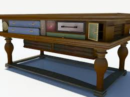 antique table with many drawers 3d model max obj 3ds fbx mtl tga 3